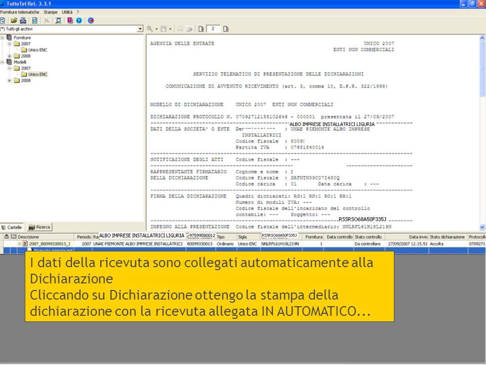 I dati della ricevuta sono collegati automaticamente alla Dichiarazione