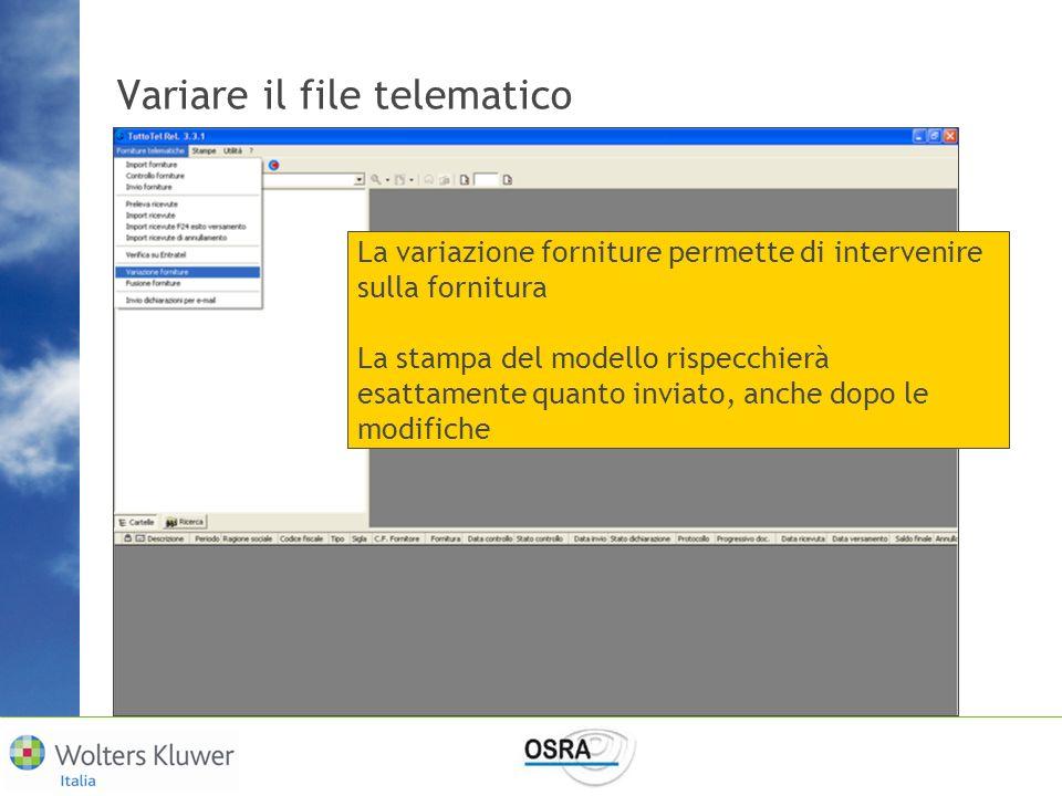 Variare il file telematico