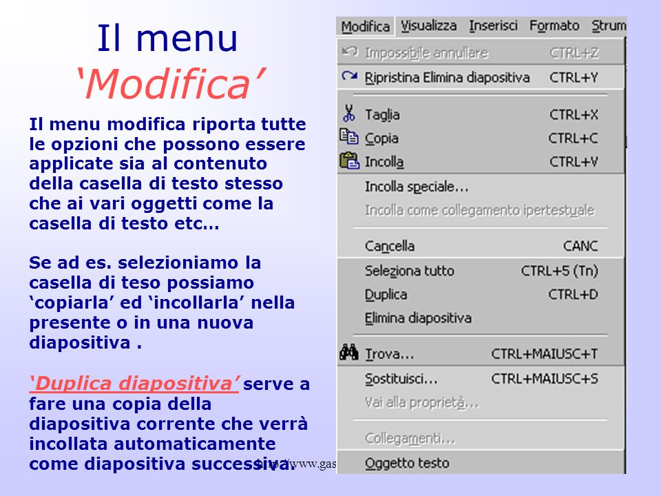 Il menu 'Modifica'