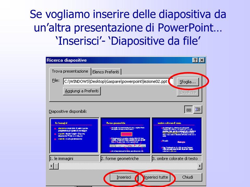 Se vogliamo inserire delle diapositiva da un'altra presentazione di PowerPoint… 'Inserisci'- 'Diapositive da file'