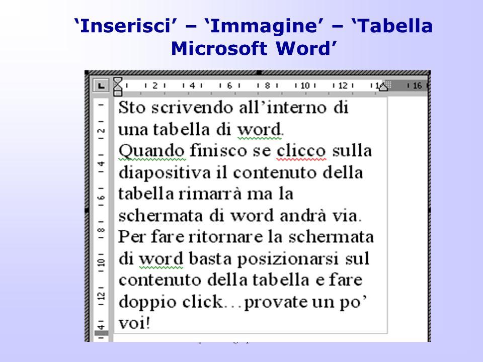 'Inserisci' – 'Immagine' – 'Tabella Microsoft Word'