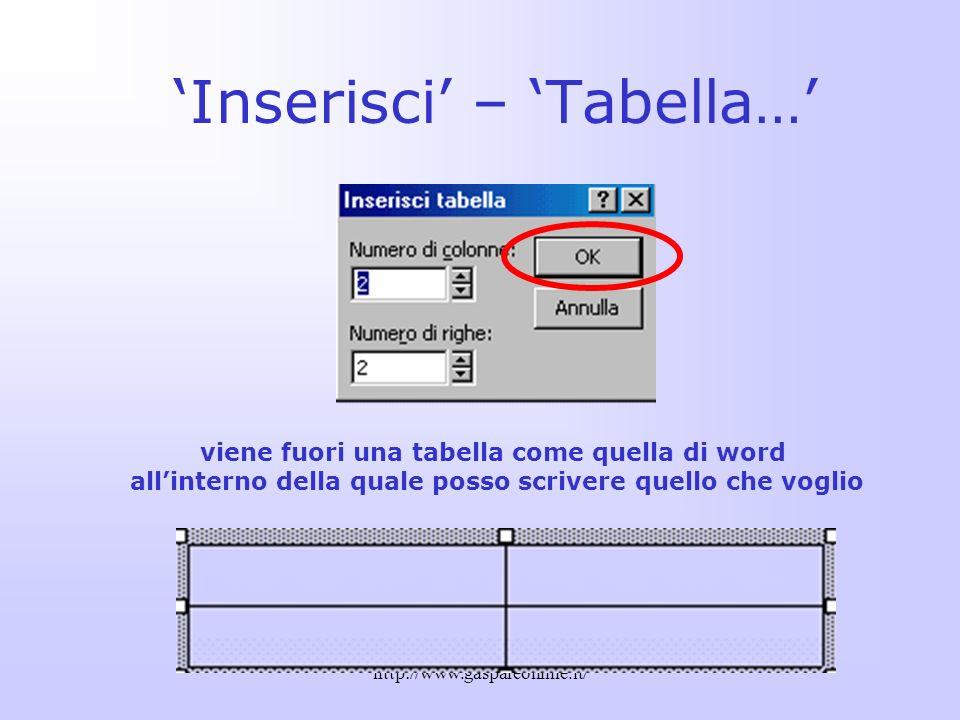 'Inserisci' – 'Tabella…'