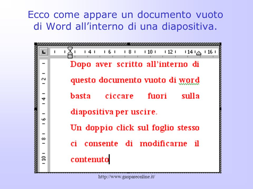 Ecco come appare un documento vuoto di Word all'interno di una diapositiva.