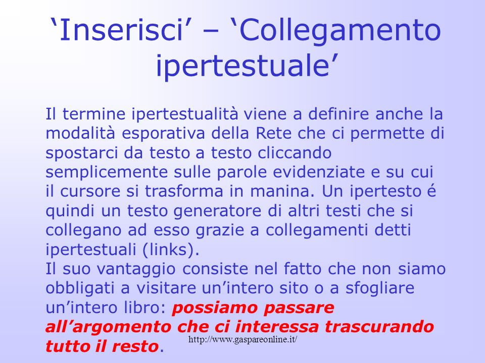 'Inserisci' – 'Collegamento ipertestuale'