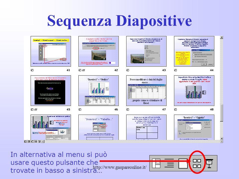 Sequenza Diapositive In alternativa al menu si può usare questo pulsante che. trovate in basso a sinistra…