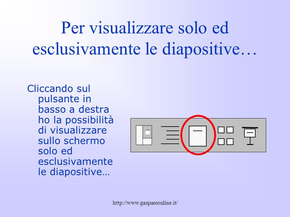 Per visualizzare solo ed esclusivamente le diapositive…