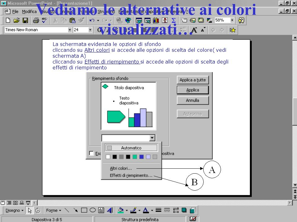 Vediamo le alternative ai colori visualizzati…