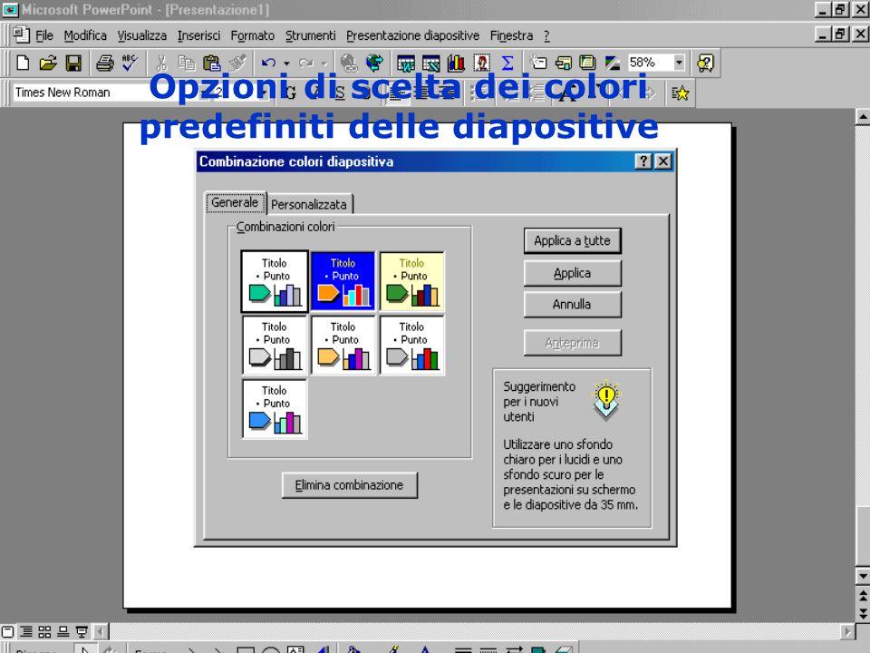 Opzioni di scelta dei colori predefiniti delle diapositive