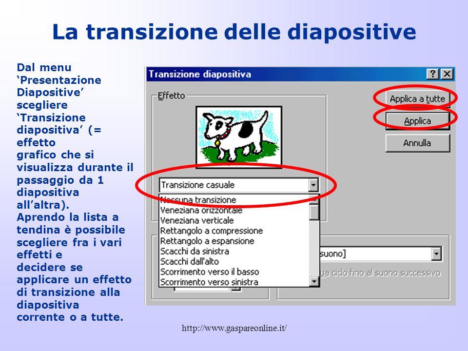 La transizione delle diapositive