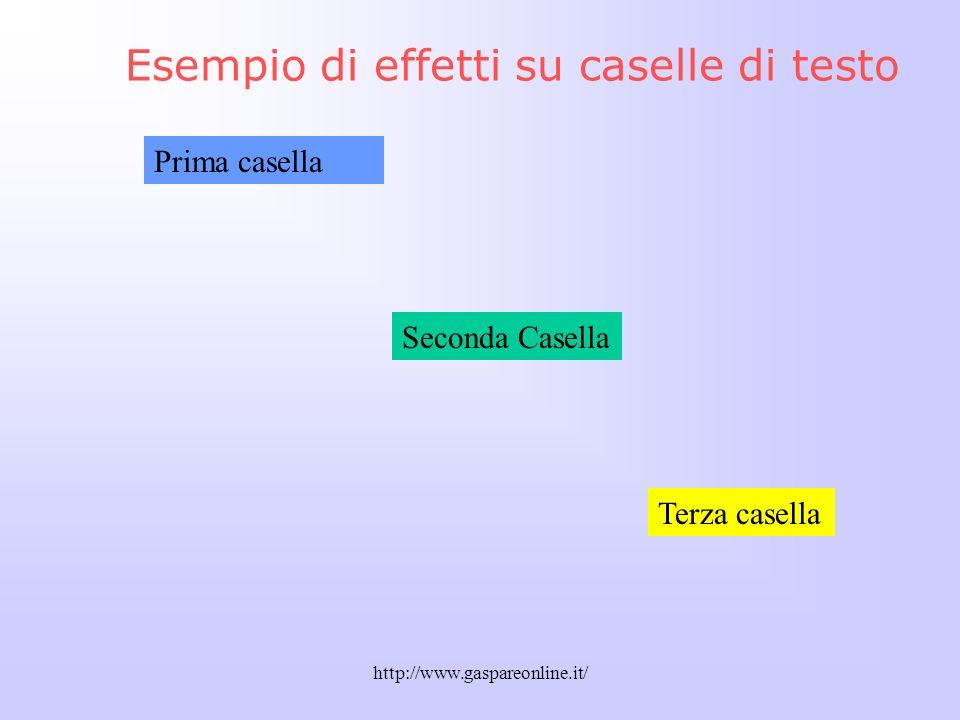 Esempio di effetti su caselle di testo
