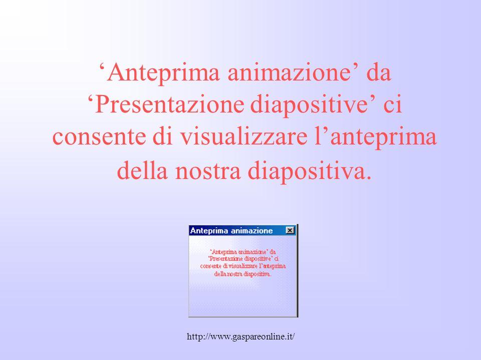 'Anteprima animazione' da 'Presentazione diapositive' ci consente di visualizzare l'anteprima della nostra diapositiva.