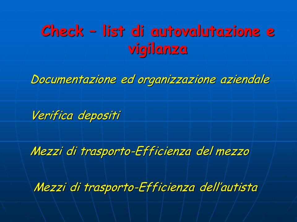 Check – list di autovalutazione e vigilanza