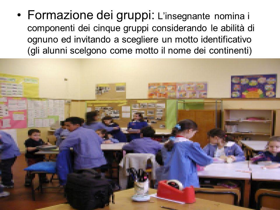 Formazione dei gruppi: L'insegnante nomina i componenti dei cinque gruppi considerando le abilità di ognuno ed invitando a scegliere un motto identificativo (gli alunni scelgono come motto il nome dei continenti)