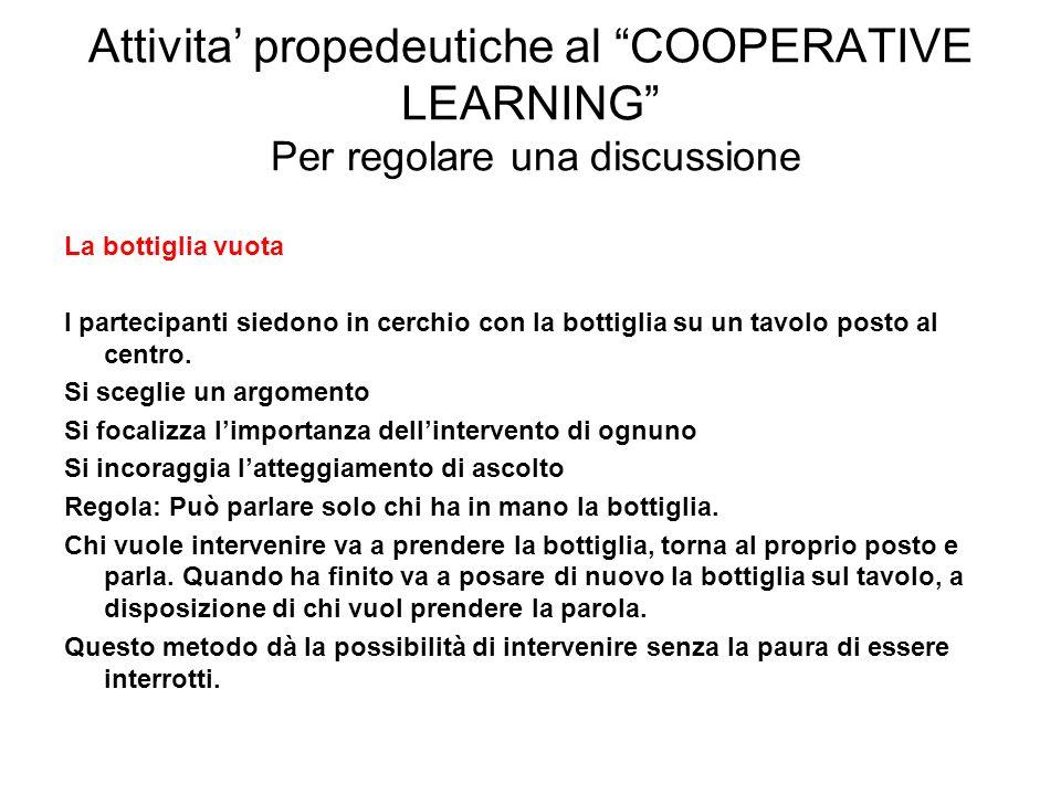 Attivita' propedeutiche al COOPERATIVE LEARNING Per regolare una discussione