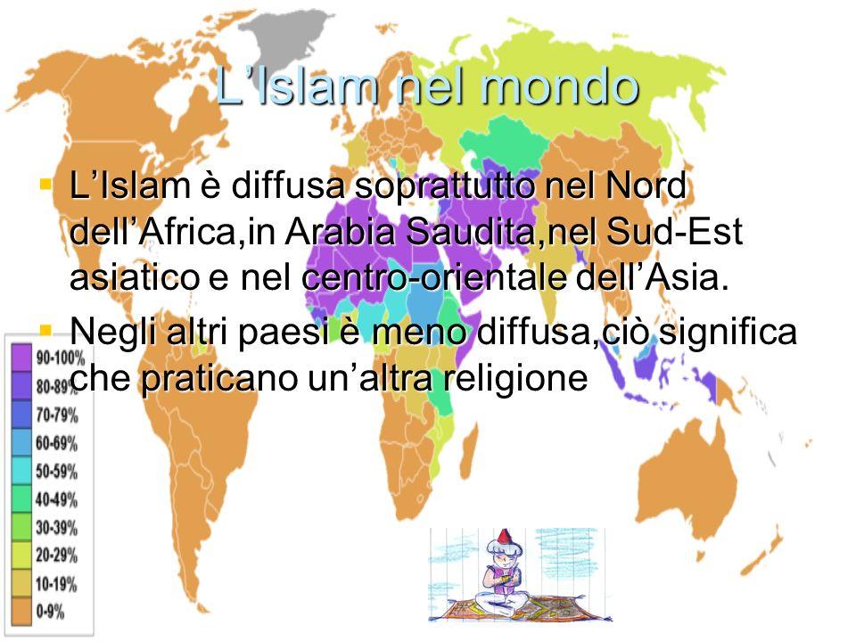 L'Islam nel mondo L'Islam è diffusa soprattutto nel Nord dell'Africa,in Arabia Saudita,nel Sud-Est asiatico e nel centro-orientale dell'Asia.