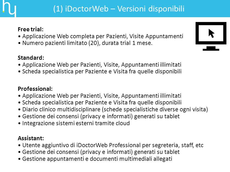(1) iDoctorWeb – Versioni disponibili