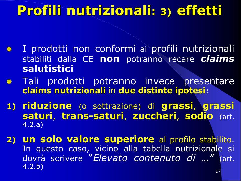 Profili nutrizionali: 3) effetti