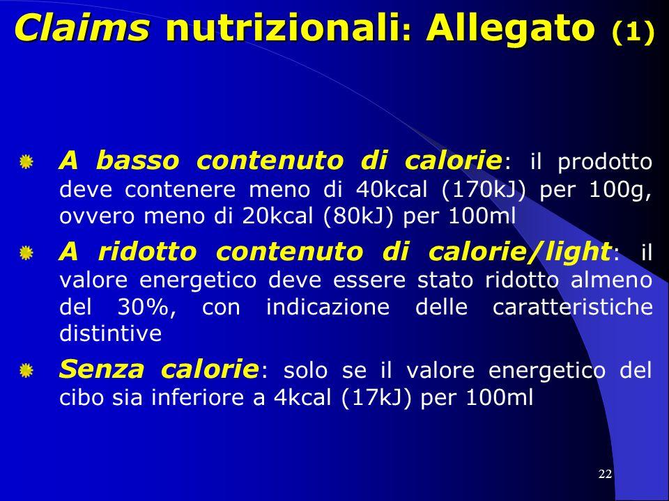 Claims nutrizionali: Allegato (1)