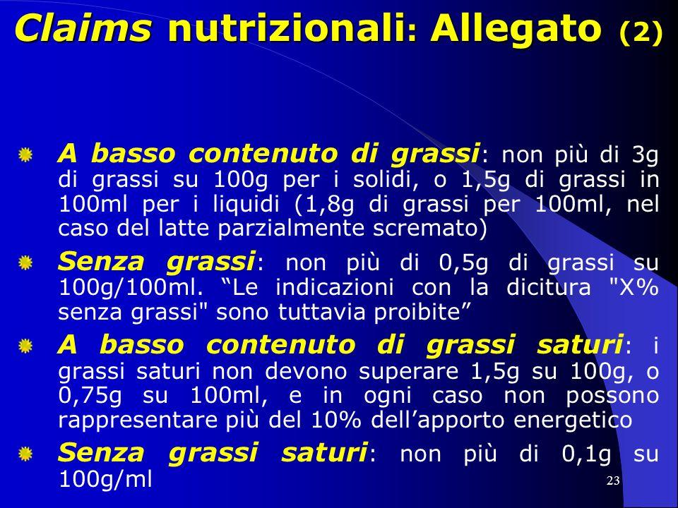 Claims nutrizionali: Allegato (2)