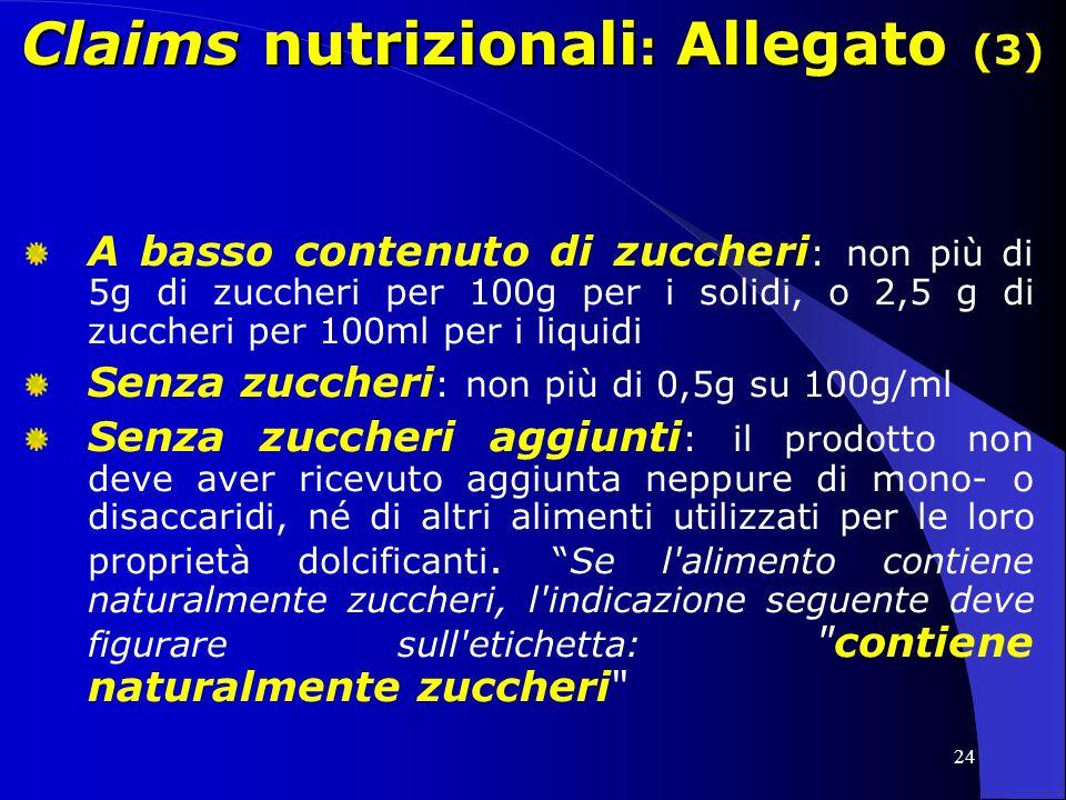 Claims nutrizionali: Allegato (3)