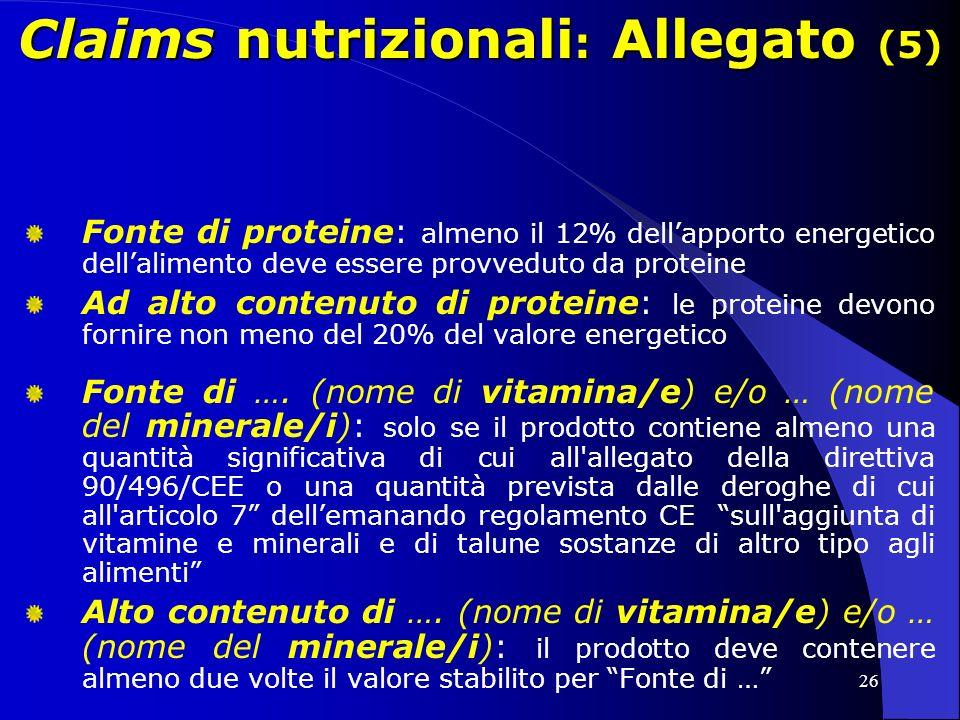 Claims nutrizionali: Allegato (5)