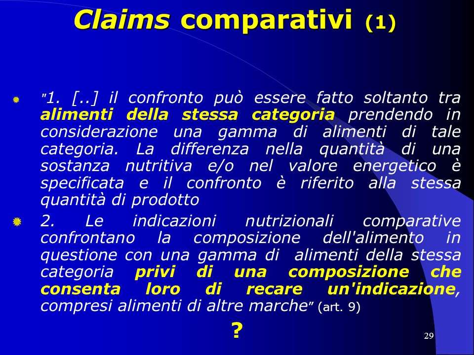 Claims comparativi (1)