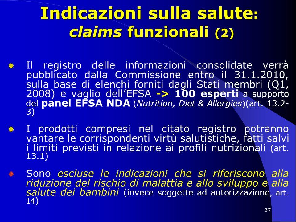 Indicazioni sulla salute: claims funzionali (2)