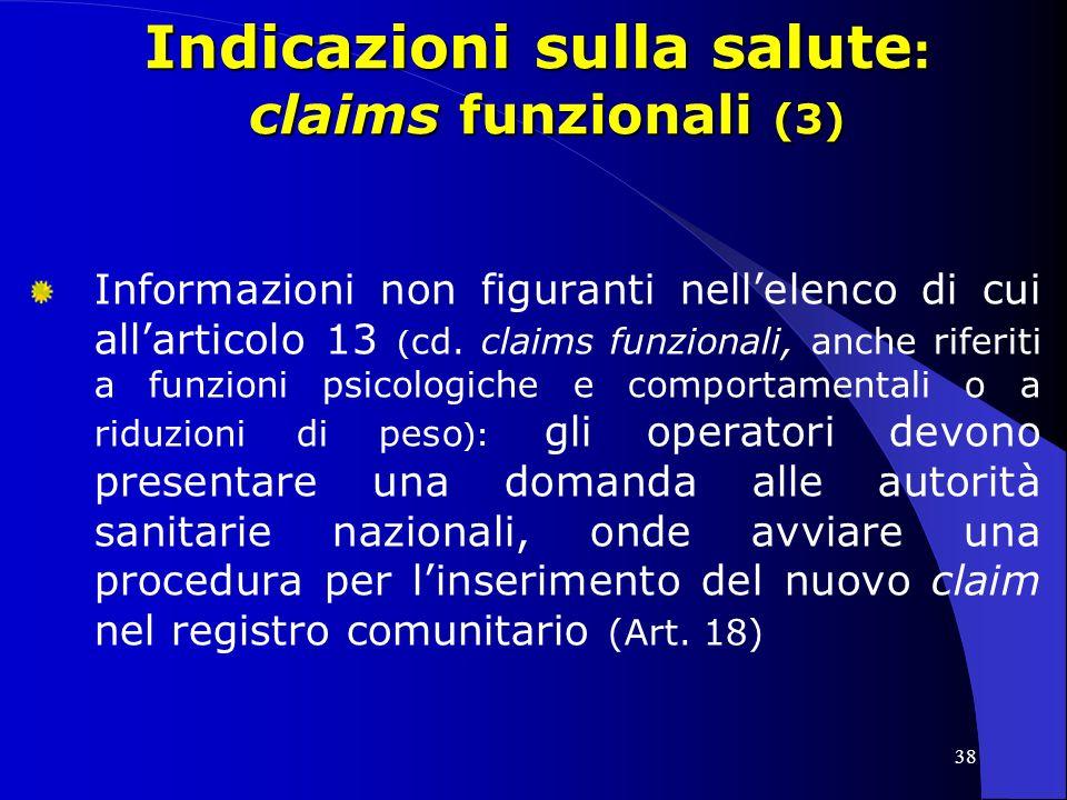 Indicazioni sulla salute: claims funzionali (3)