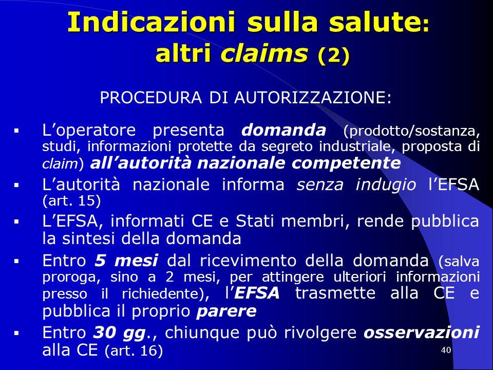 Indicazioni sulla salute: altri claims (2)