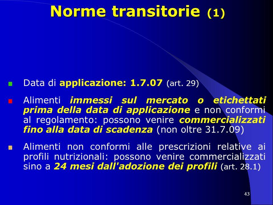 Norme transitorie (1) Data di applicazione: 1.7.07 (art. 29)