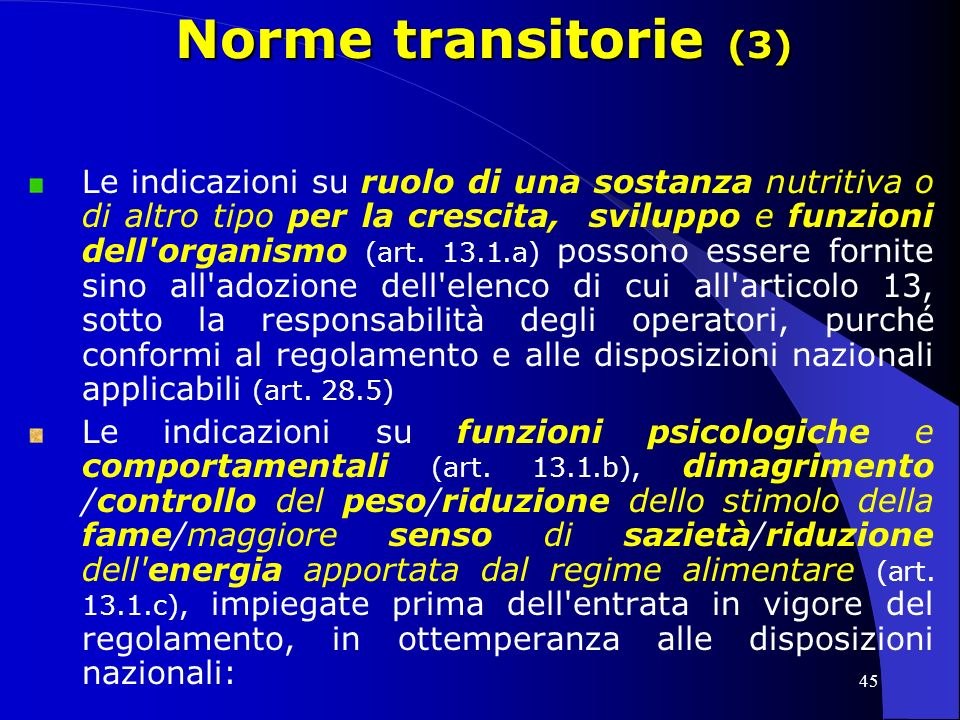 Norme transitorie (3)