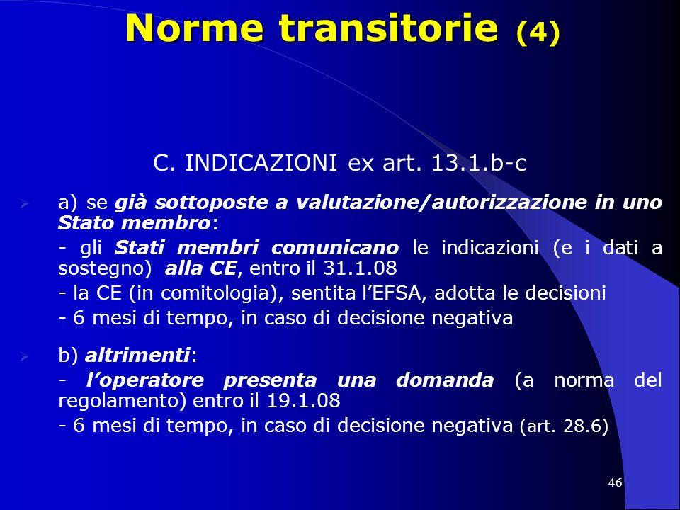 C. INDICAZIONI ex art. 13.1.b-c