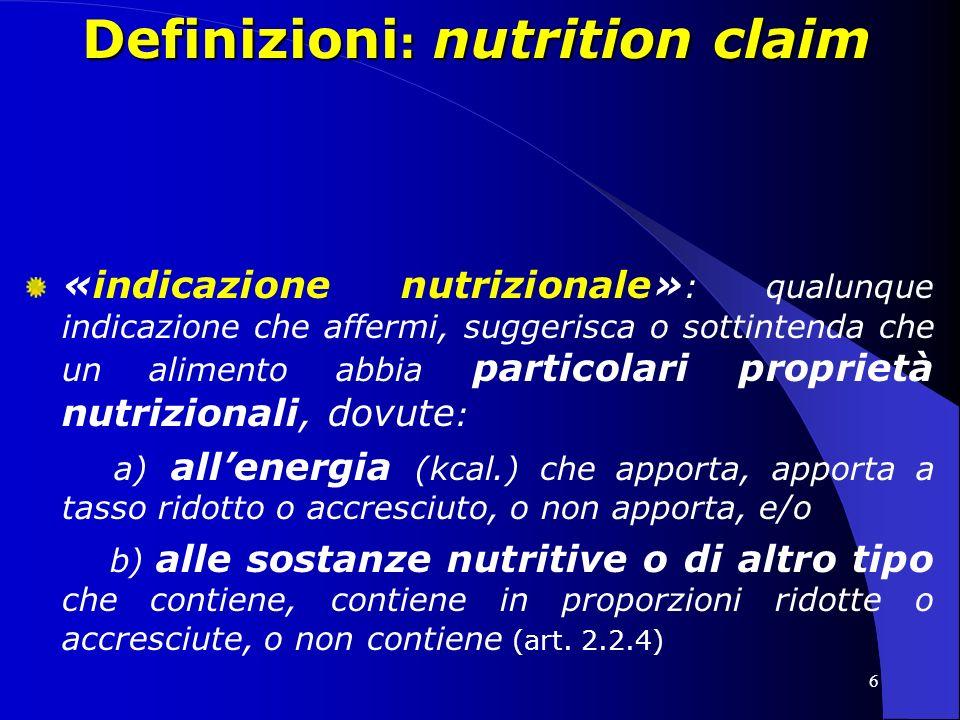 Definizioni: nutrition claim