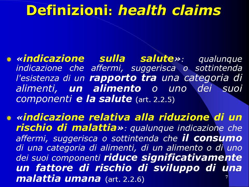 Definizioni: health claims