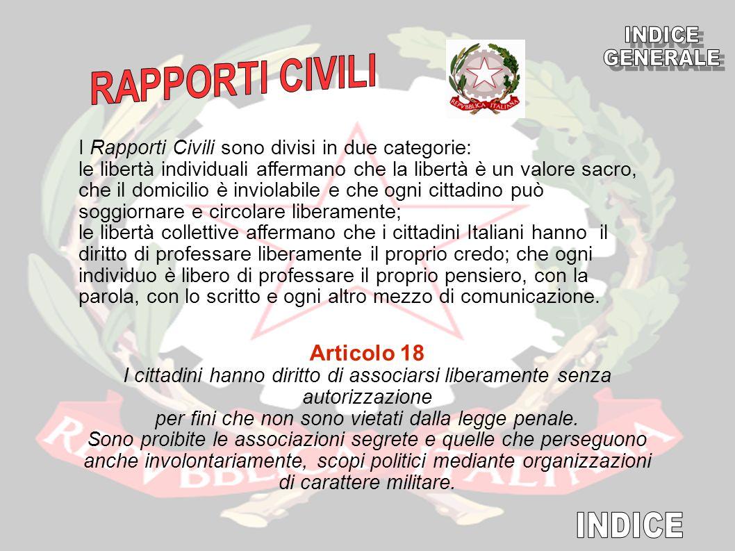 INDICE GENERALE RAPPORTI CIVILI INDICE Articolo 18