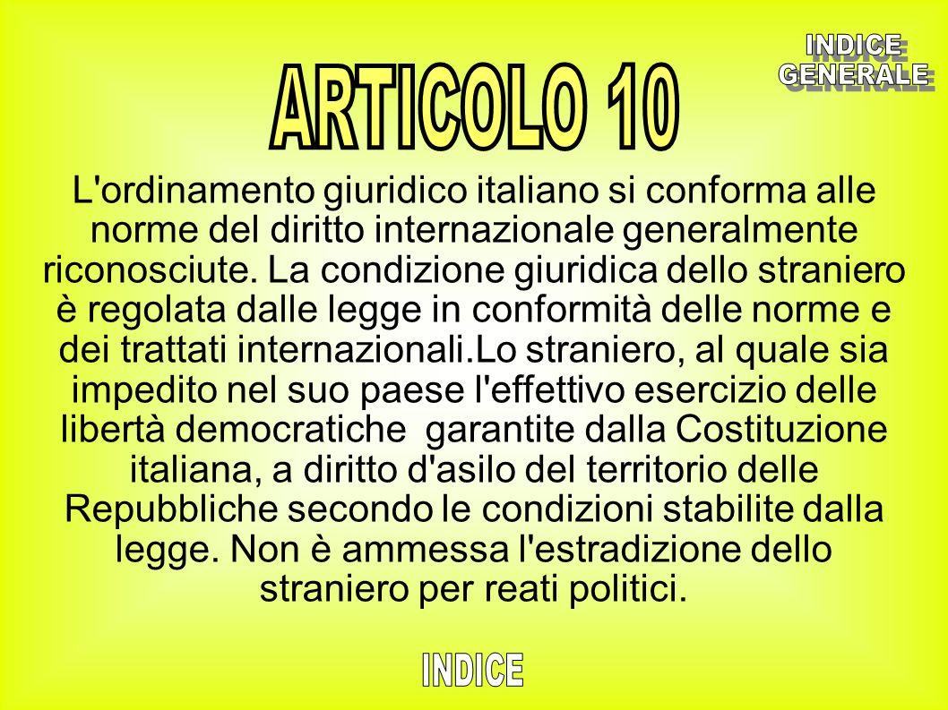 INDICE GENERALE ARTICOLO 10 INDICE