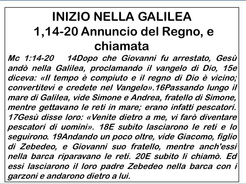 INIZIO NELLA GALILEA -1,14-20 Annuncio del Regno, e chiamata