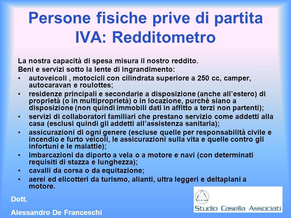 Persone fisiche prive di partita IVA: Redditometro