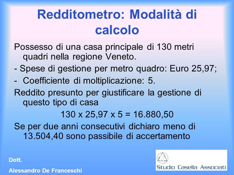 Redditometro: Modalità di calcolo