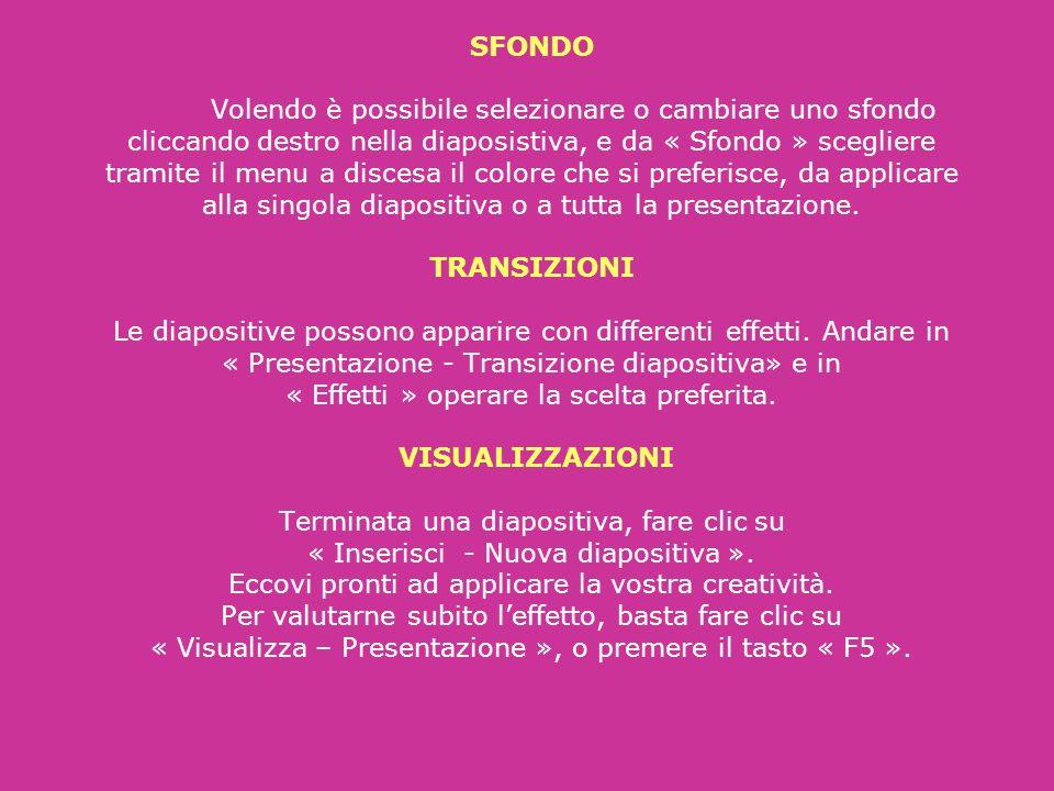 SFONDO Volendo è possibile selezionare o cambiare uno sfondo cliccando destro nella diaposistiva, e da « Sfondo » scegliere tramite il menu a discesa il colore che si preferisce, da applicare alla singola diapositiva o a tutta la presentazione.
