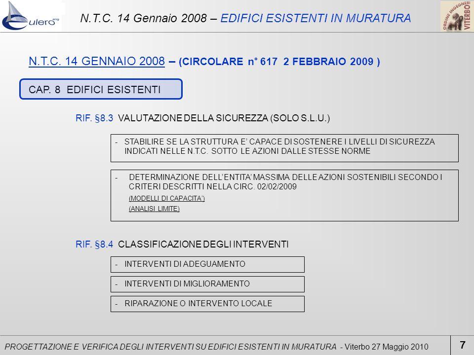 N.T.C. 14 Gennaio 2008 – EDIFICI ESISTENTI IN MURATURA
