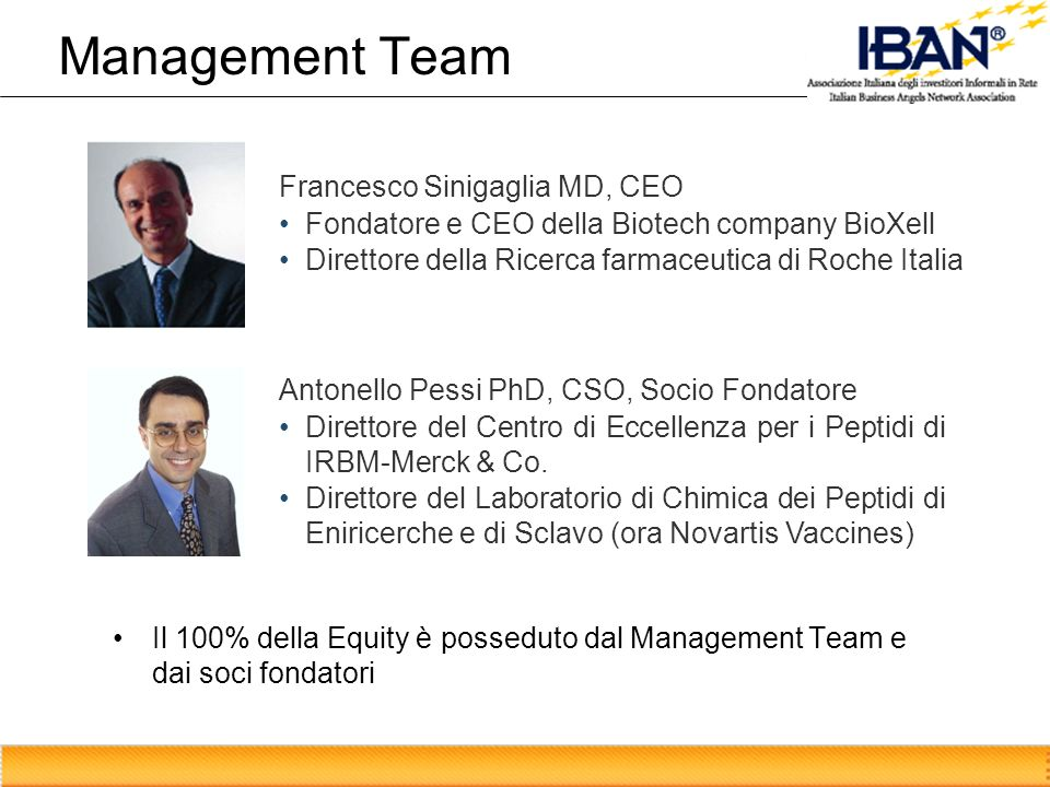 Management Team Francesco Sinigaglia MD, CEO