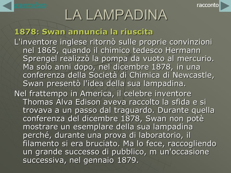 LA LAMPADINA 1878: Swan annuncia la riuscita