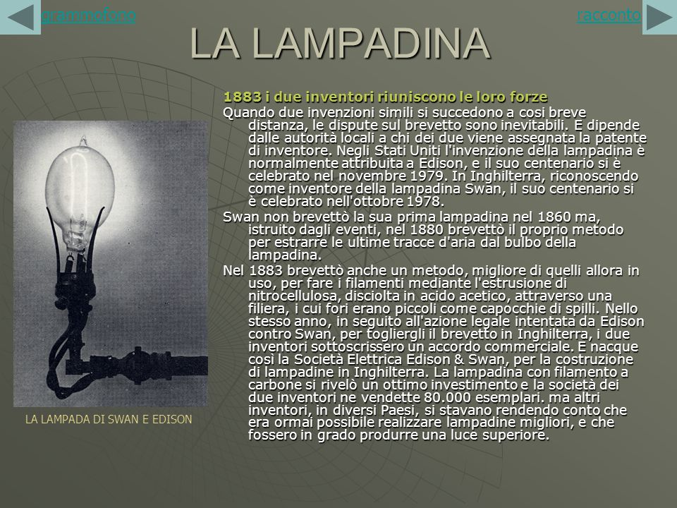 LA LAMPADA DI SWAN E EDISON