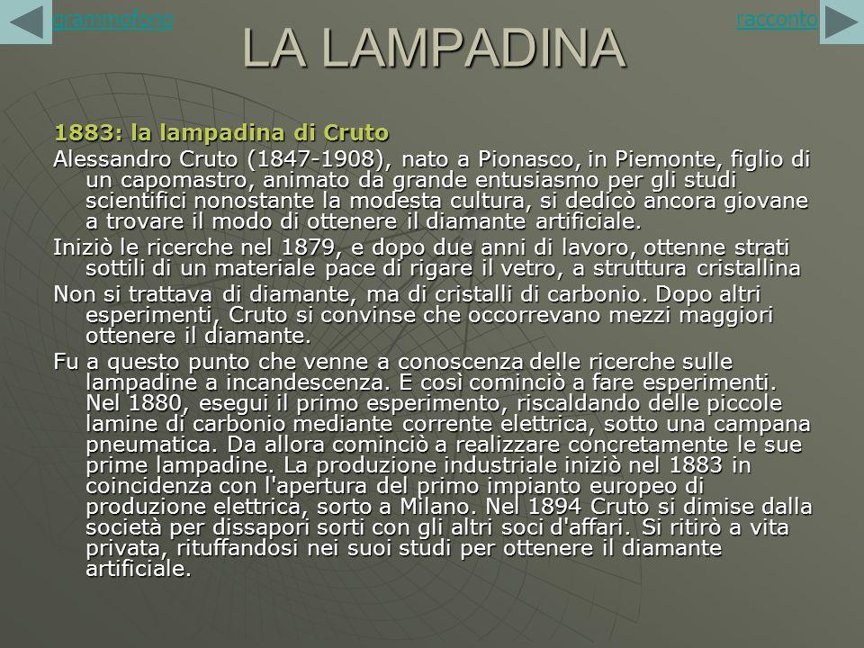 LA LAMPADINA grammofono racconto 1883: la lampadina di Cruto