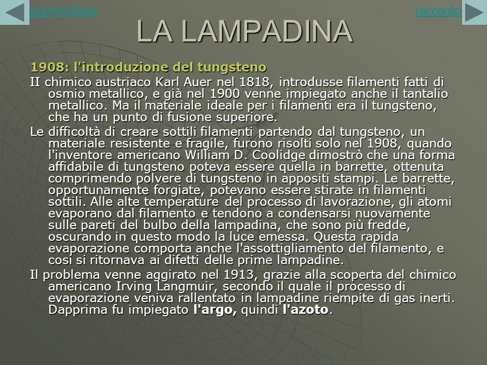 LA LAMPADINA grammofono racconto 1908: l introduzione del tungsteno