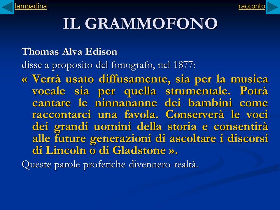 lampadina racconto. IL GRAMMOFONO. Thomas Alva Edison. disse a proposito del fonografo, nel 1877: