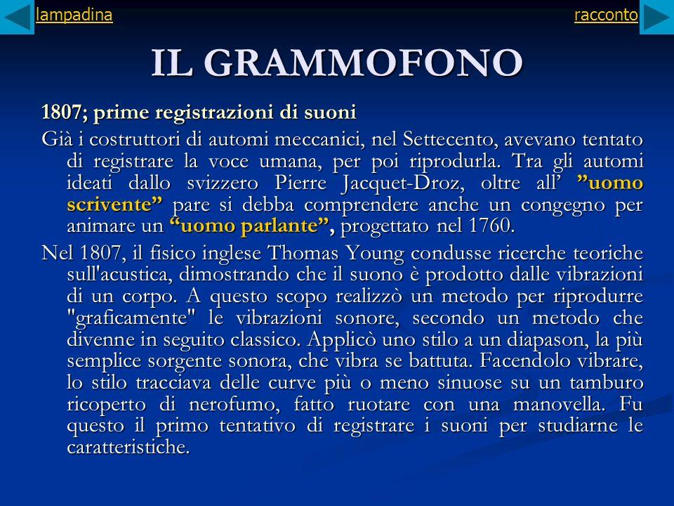IL GRAMMOFONO 1807; prime registrazioni di suoni