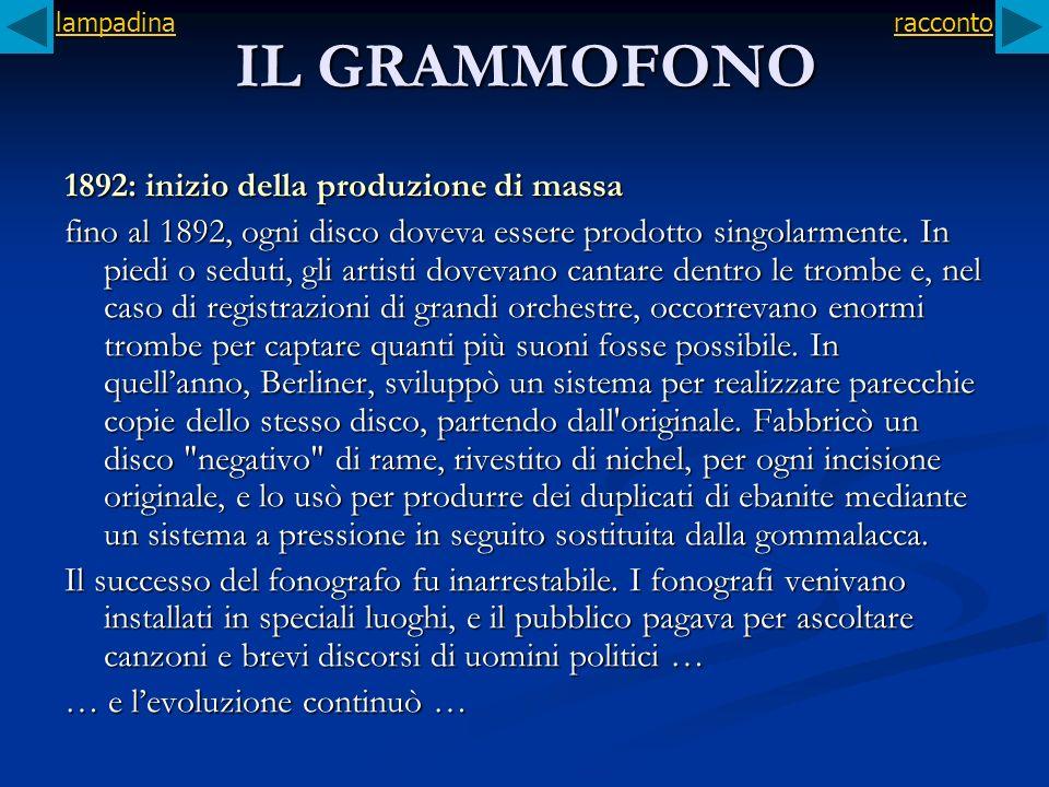 IL GRAMMOFONO 1892: inizio della produzione di massa