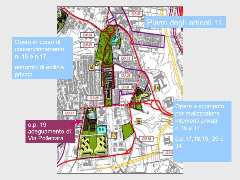 Piano degli articoli 11Opere in corso di convenzionamento: n. 16 e n.17. entrambi di edilizia privata.